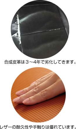 合成皮革は3~4年で劣化してきます。 レザーの耐久性や手触りは優れています。